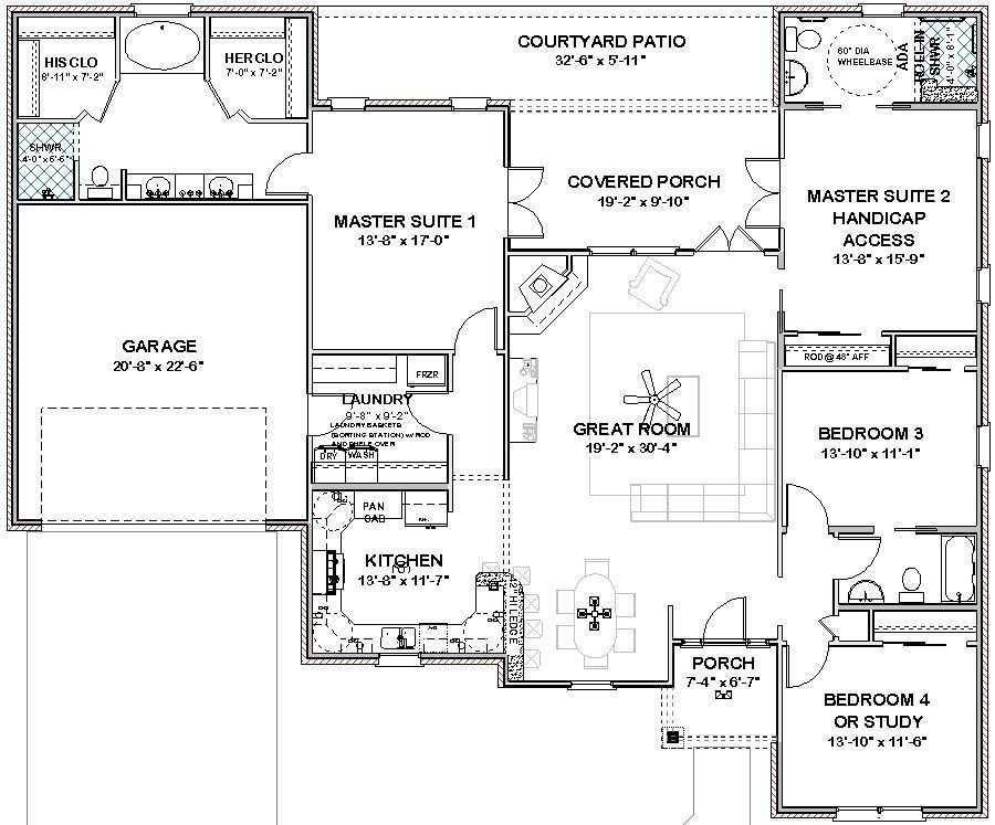 Best Complete House Plans 2306 Sq Ft 2 Masters Ada Bath With Pictures