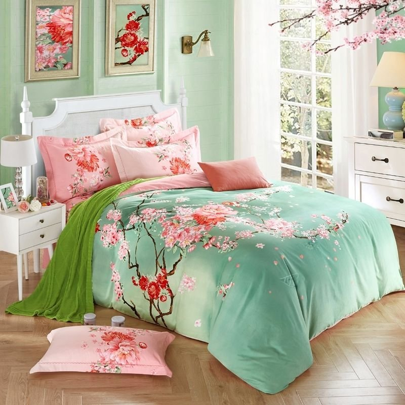 Best Mint Green And Pink Peach Blossom Print Oriental Style With Pictures