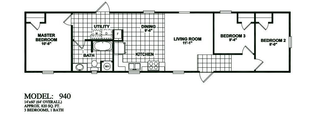 Best Single Wide 3 Bedroom 1 Bathroom Mobile Home Floor Plans With Pictures