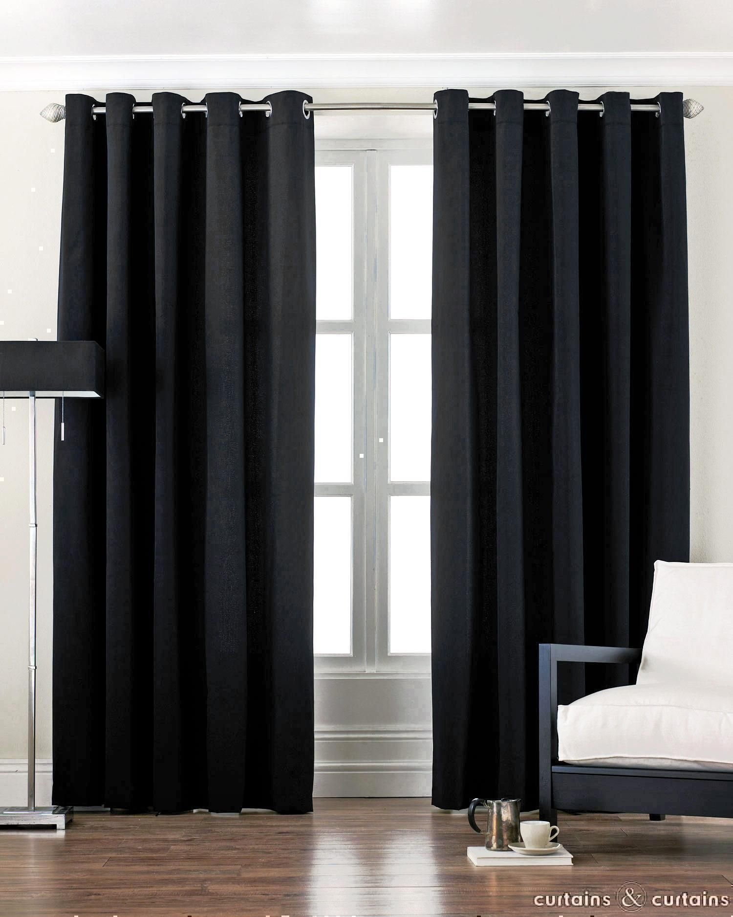 Best Black Curtains Black Cotton Canvas Eyelet Lined Curtain With Pictures