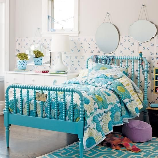 Best The Land Of Nod Kids Beds Kids Aqua Blue Spindle Jenny With Pictures