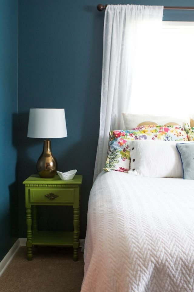 Best House Tour Guest Bedroom Teal Walls Night Stand And Teal With Pictures
