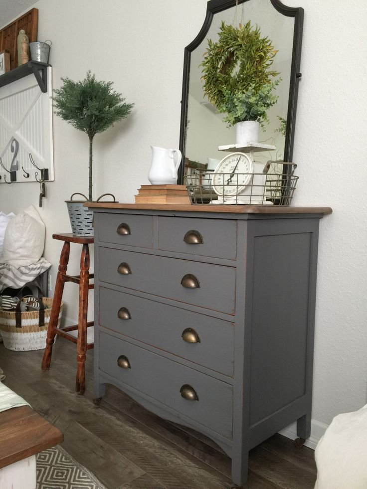 Best Charcoal Gray Dresser With A Sweet Little Note Painted With Pictures