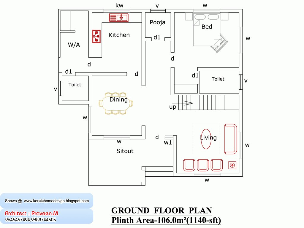 Best 1500 Sq Ft House Plans In India Free Download 2 Bedroom 1200 Square Foot Home Plan And Elevation With Pictures