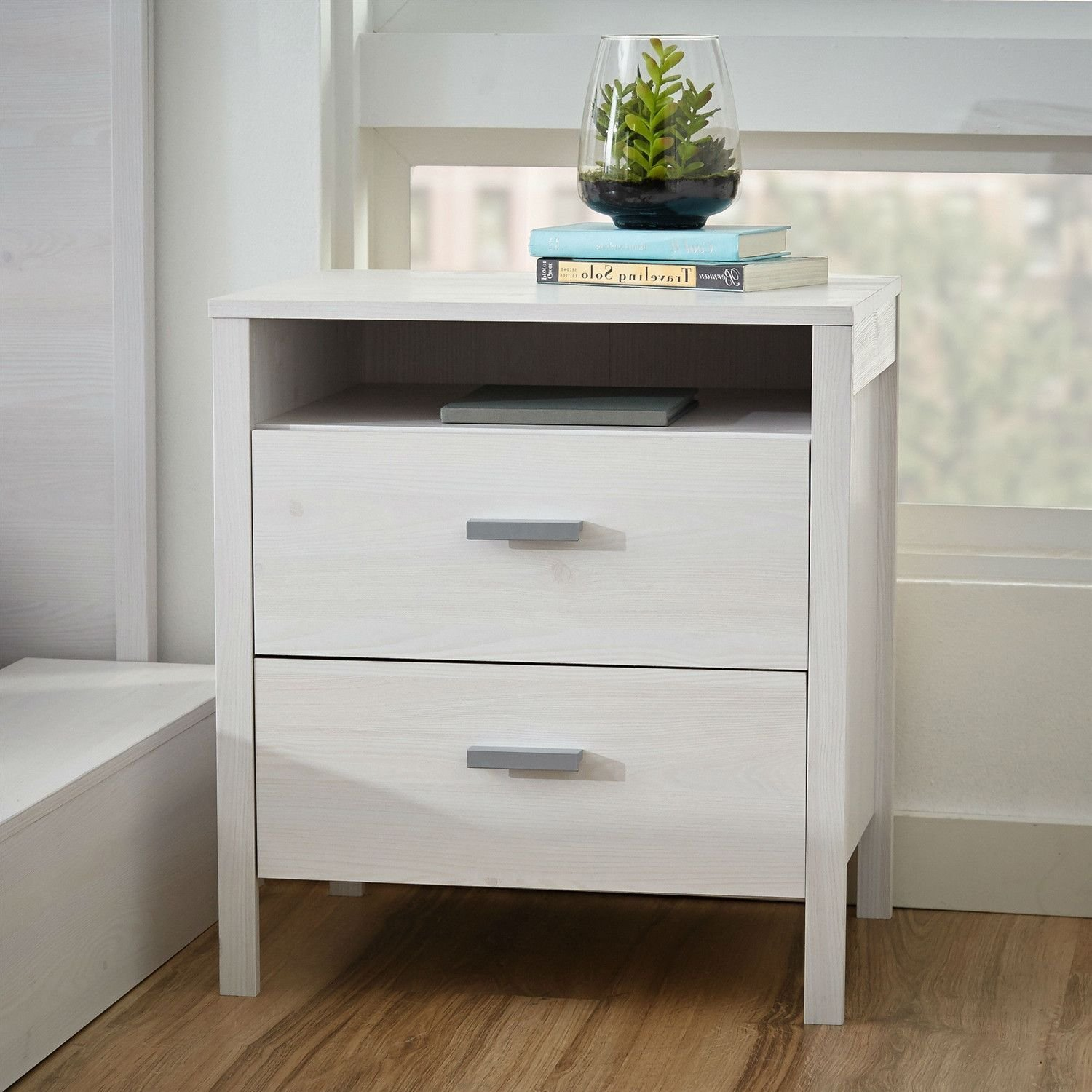 Best Modern 2 Drawer Nightstand Bedside Table In Larch White With Pictures