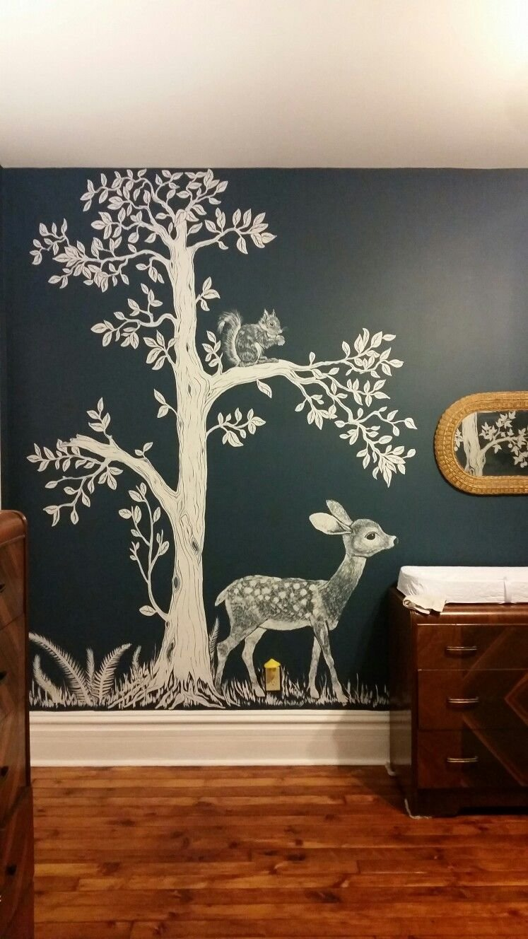 Best Woodland Nursery Hand Painted Woodland Nursery Mural With Pictures