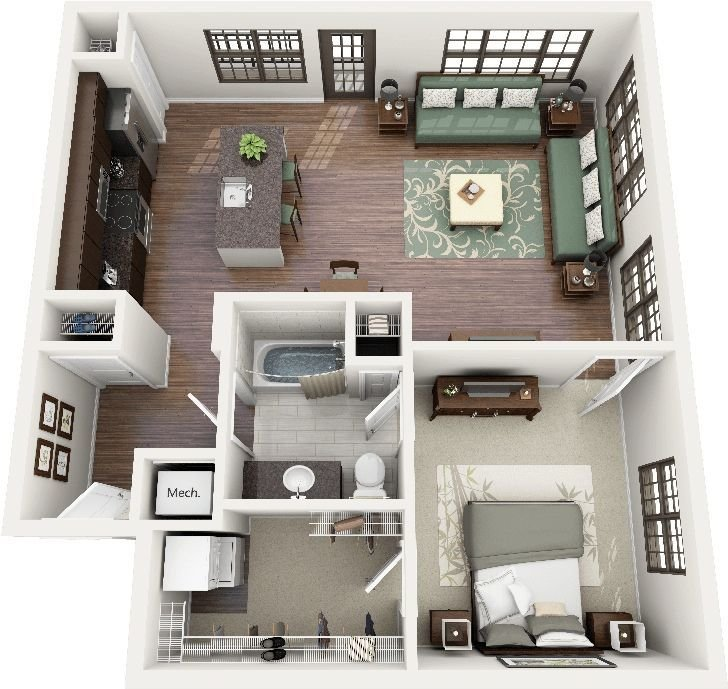 "Best 50 One ""1"" Bedroom Apartment House Plans Small Space With Pictures"