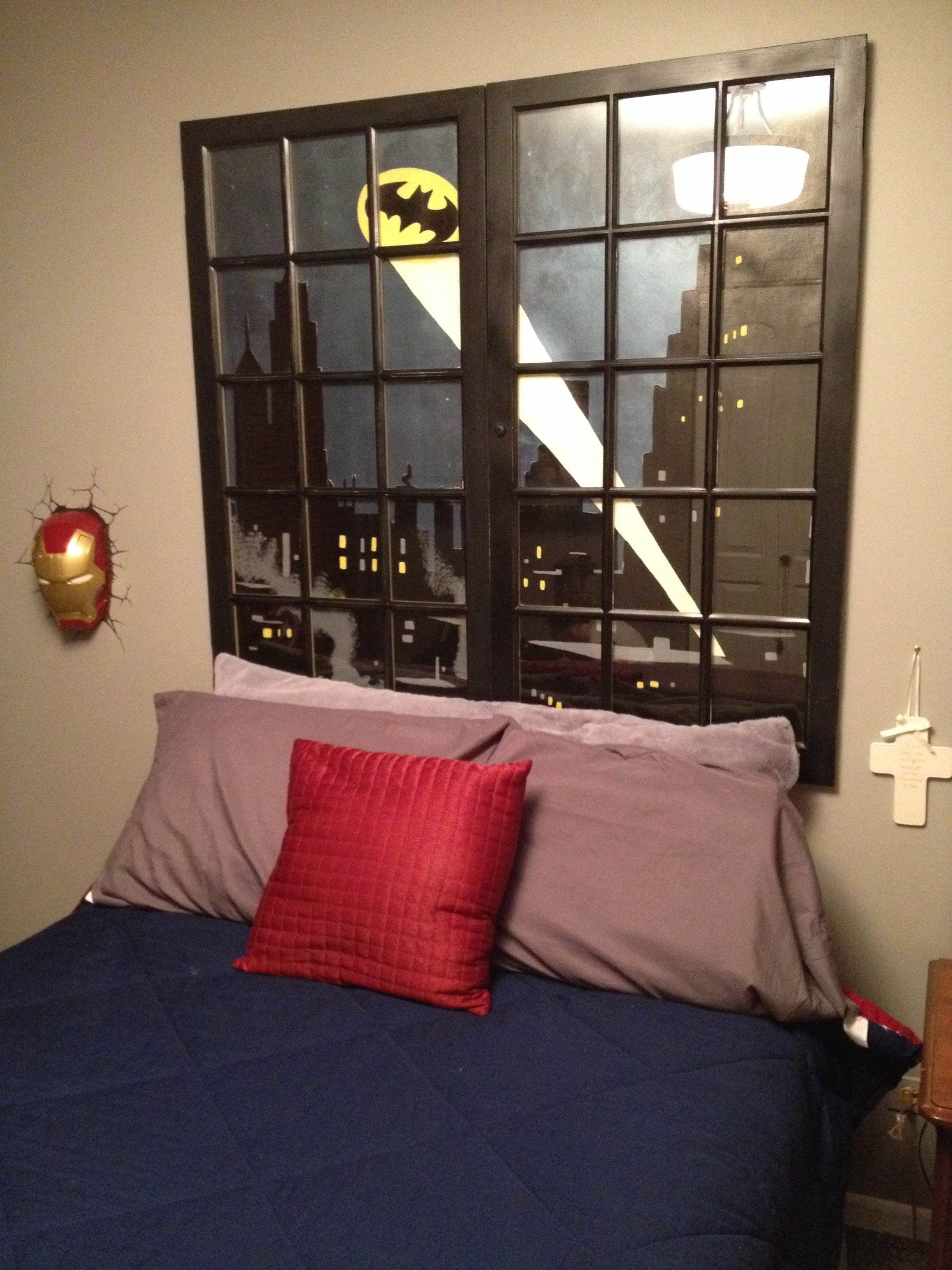Best Batman Headboard W Repurposed Old Windows Ummm Love With Pictures