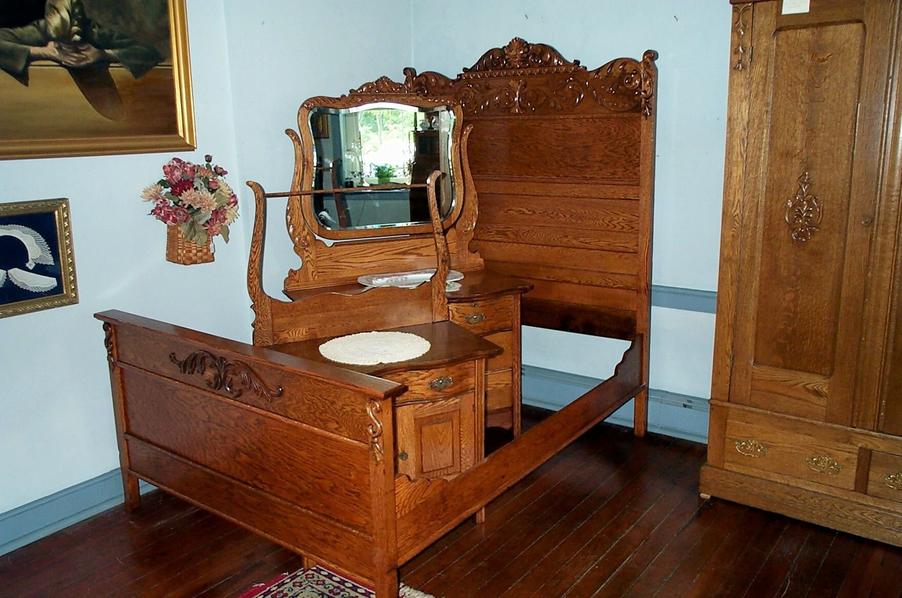 Best Three Piece Solid Oak Bedroom Set For Sale Antiques With Pictures
