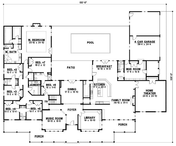 Best Country Style House Plans 7028 Square Foot Home 1 Story 7 Bedroom And 6 Bath 4 Garage With Pictures