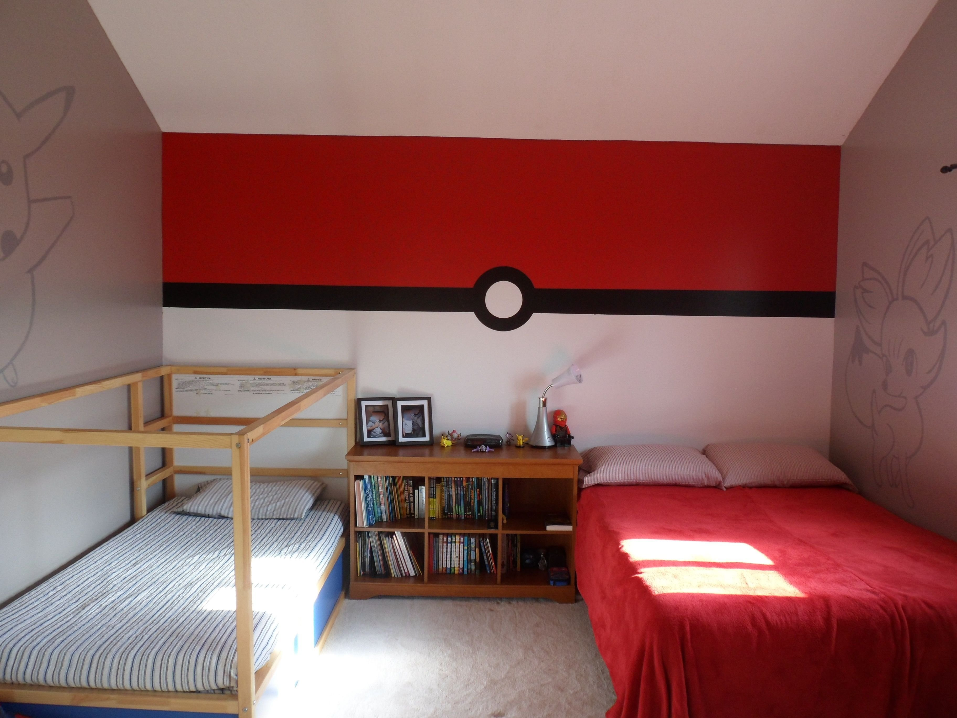 Best Pokemon Bedroom Pokeball Wall Shared Bedrooms In 2019 With Pictures