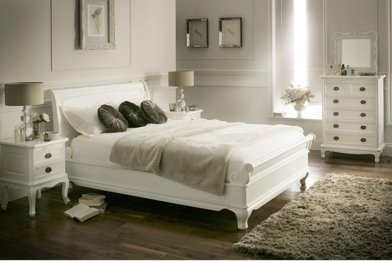 Best La Louvier White Wooden Sleigh Bed Painted Wood Wooden With Pictures