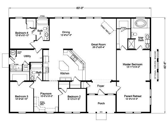 Best Image Result For Four Bedroom Open House Plans 60X40 With Pictures