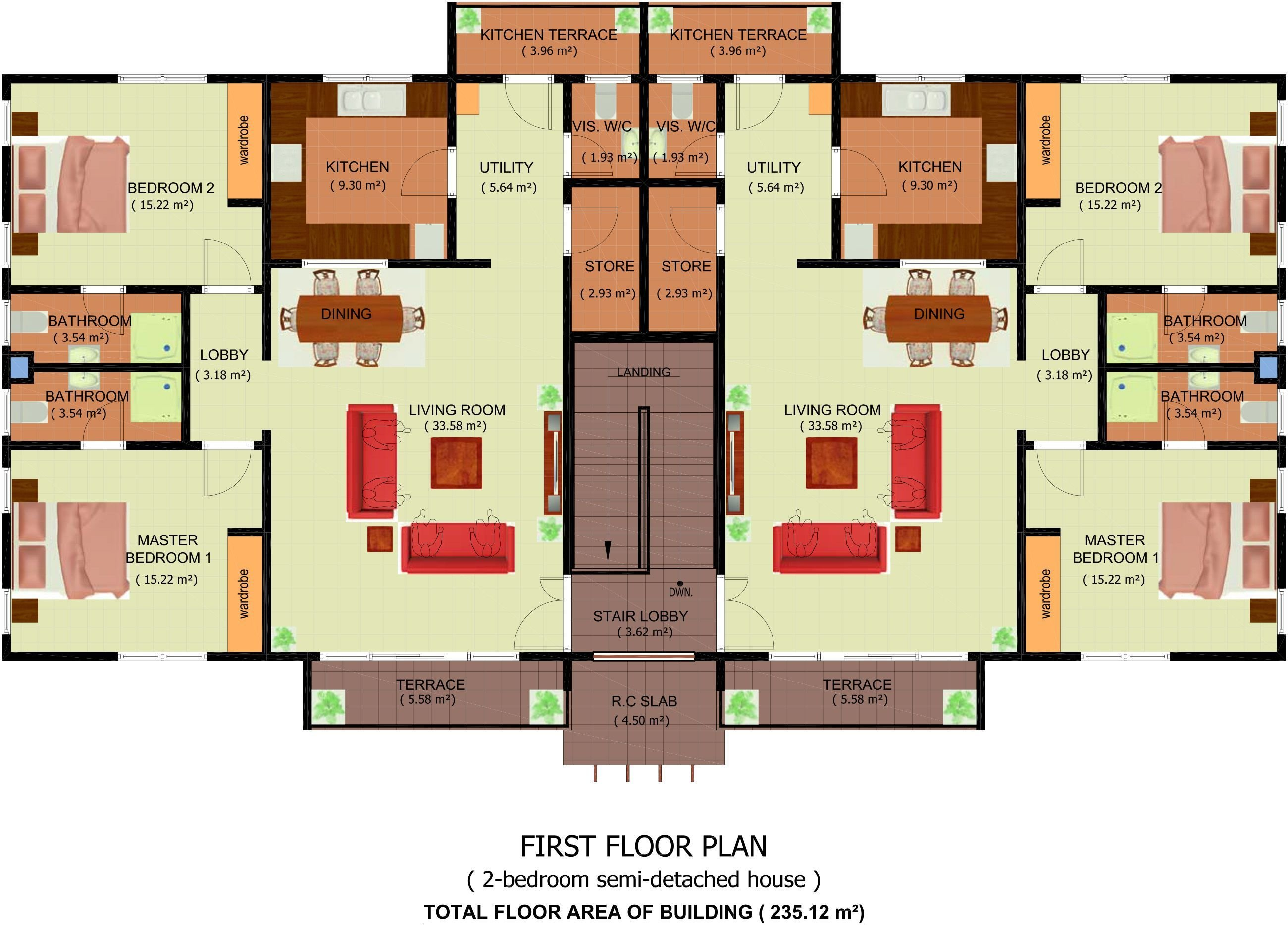 Best Semi Detached House Plan Modern Plans 2 Bedroom Pdf Ghana With Pictures