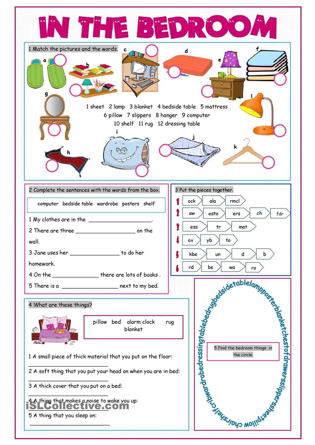 Best In The Bedroom Vocabulary Exercises Teaching Kids Esl With Pictures