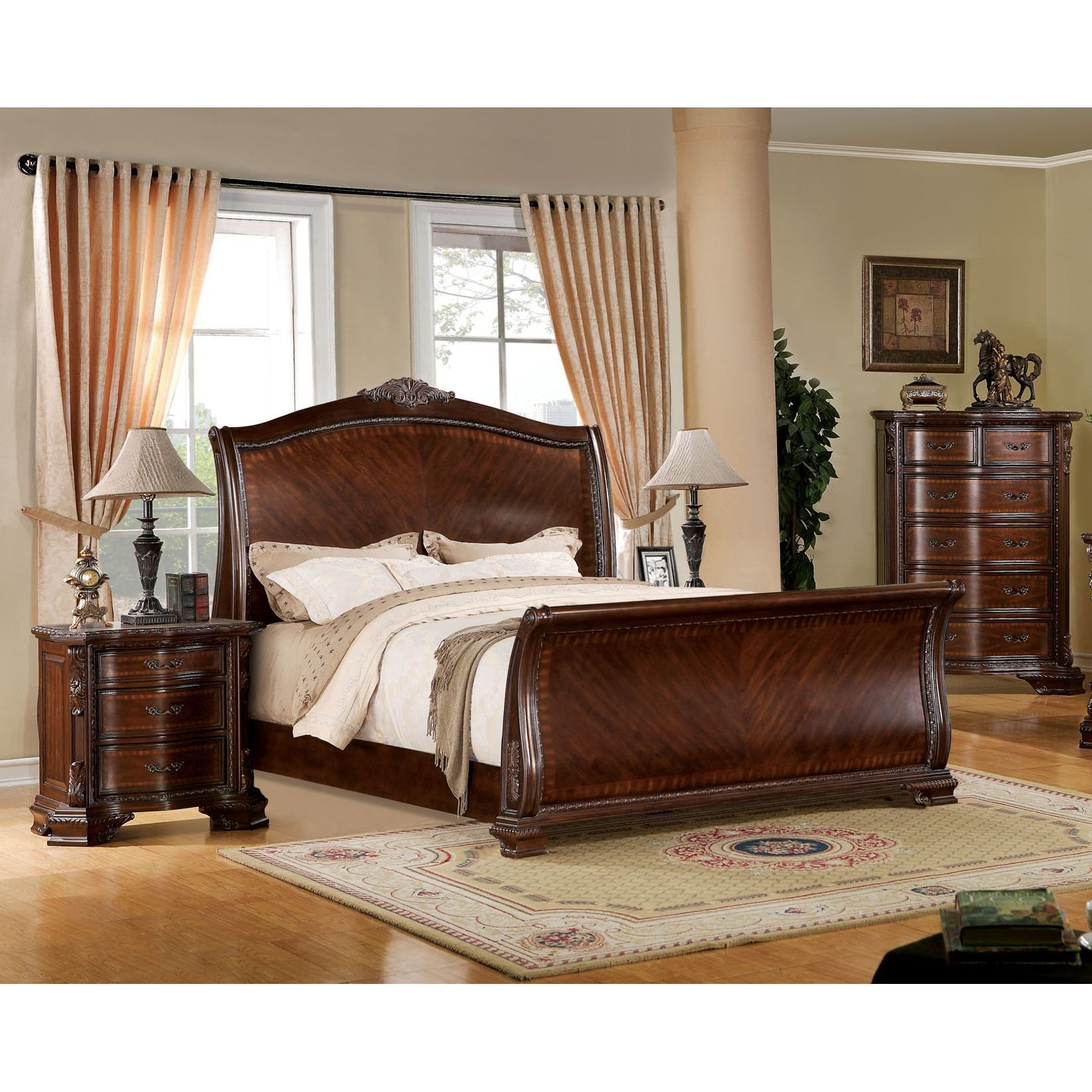 Best Furniture Of America Eliandre Baroque Style 3 Piece Sleigh With Pictures