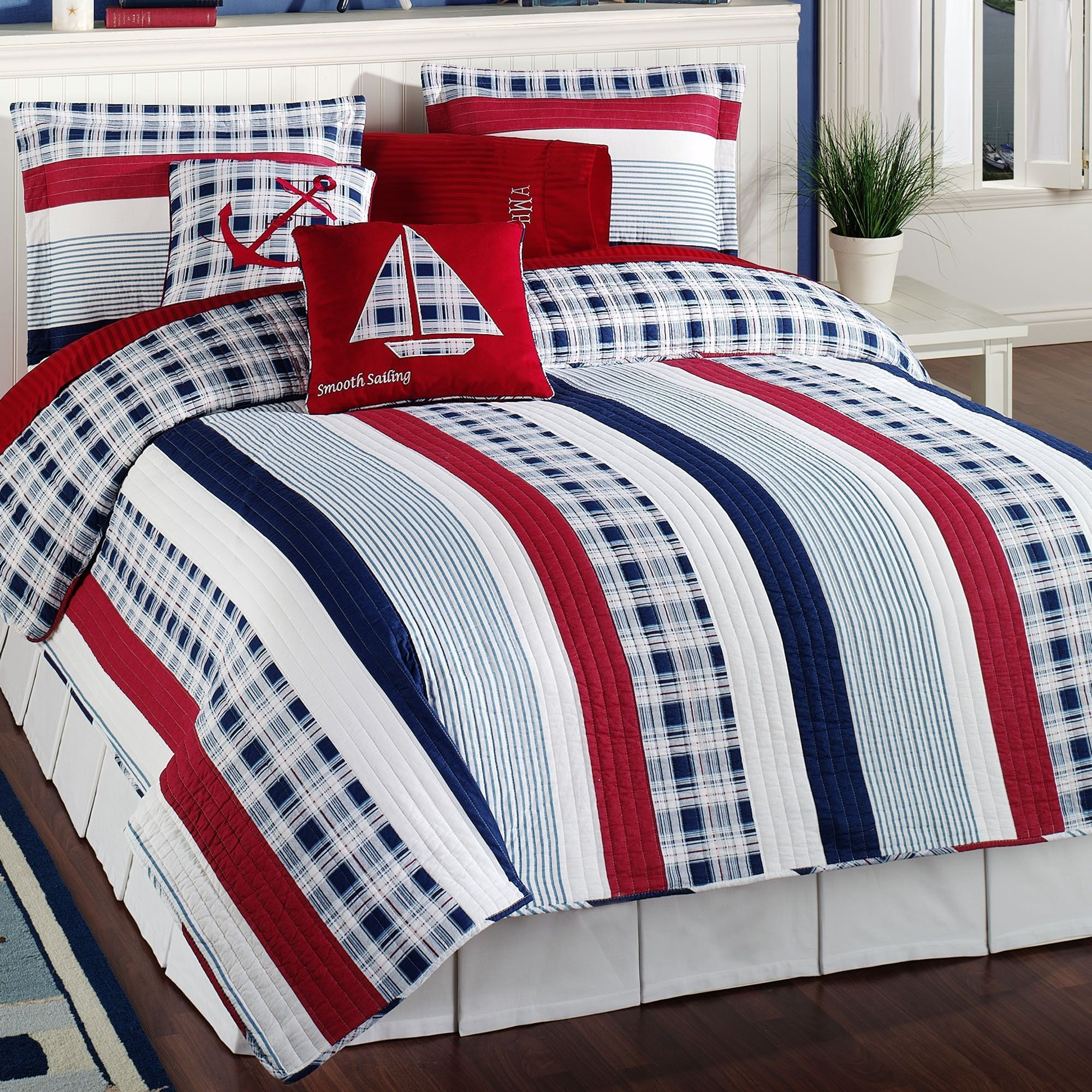 Best Nautical Bedding Sets Nautical Stripe Quilt Bedding With Pictures