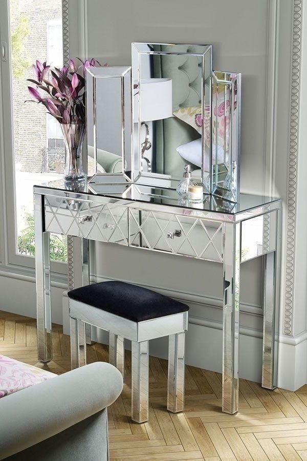 Best Mirrored Console Table Bedroom Hall Accent Entry Way Glass With Pictures