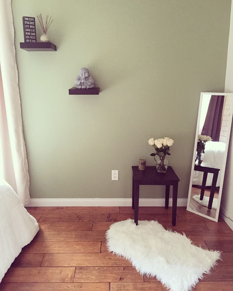 Best Zen Style Bedroom Sage Green Wall Paint Buddha Accessory With Pictures