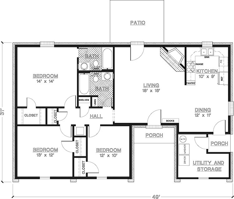 Best Simple One Story 3 Bedroom House Plans Imagearea Info Bedroom House Plans House Floor Plans With Pictures