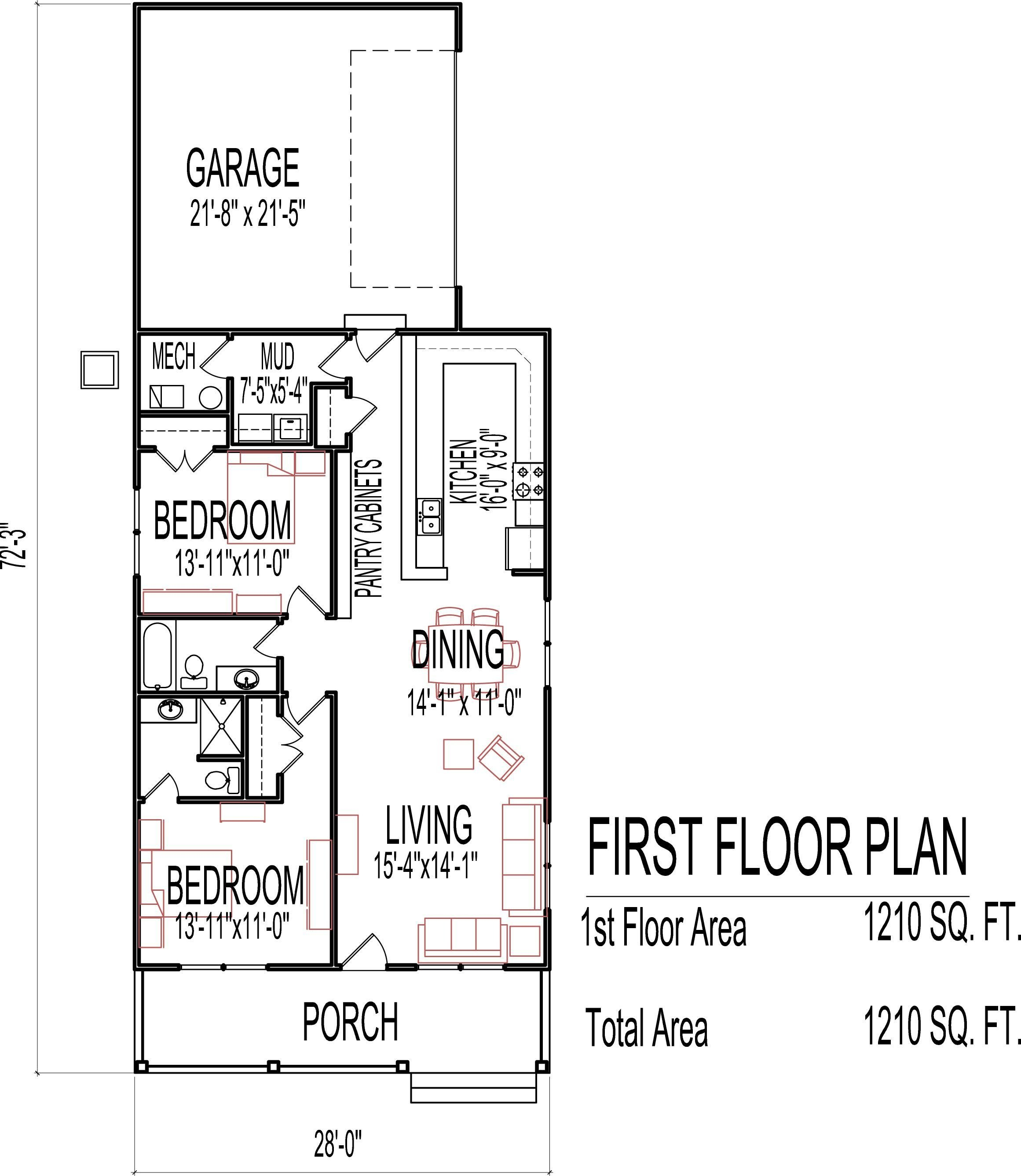 Best Single Story 2 Bedroom House Plans Escortsea With Pictures