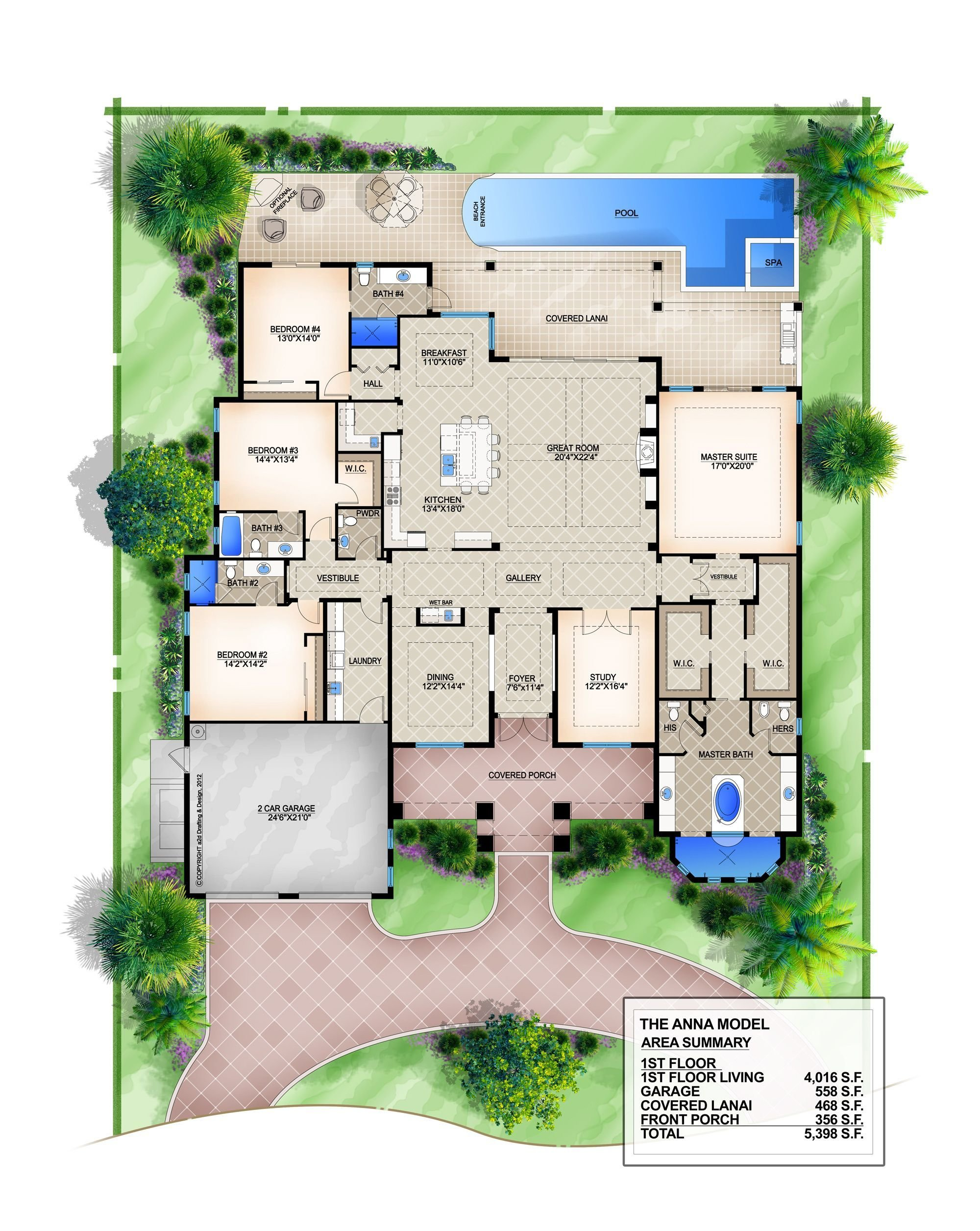 Best Anna Coastal Floor Plan 4 Bedroom 4 1 2 Bath 1 Story 2 With Pictures