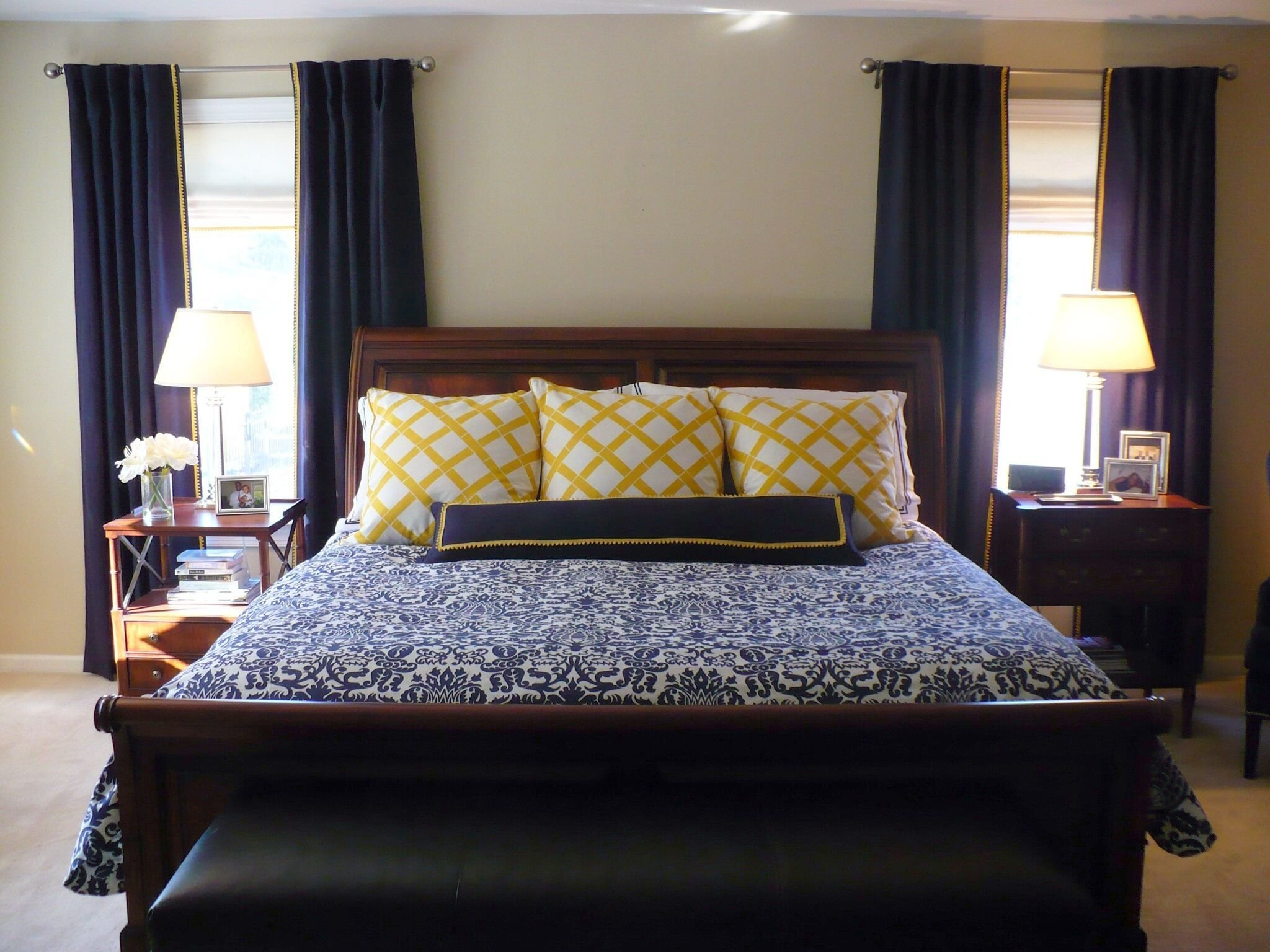 Best Navy And Yellow Master Bedroom Amy Barrickman Design With Pictures