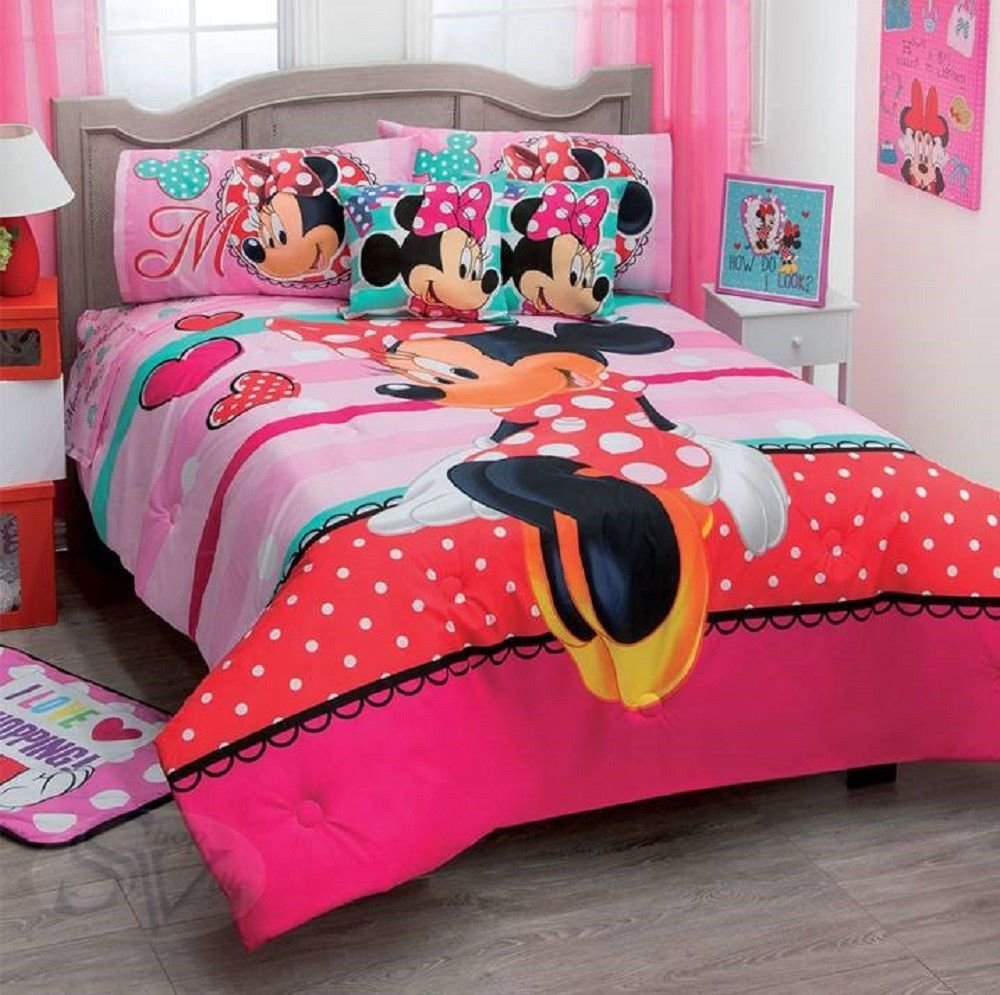 Best Disney Minnie Mouse Amor Love Red Dress Pink Comforter With Pictures