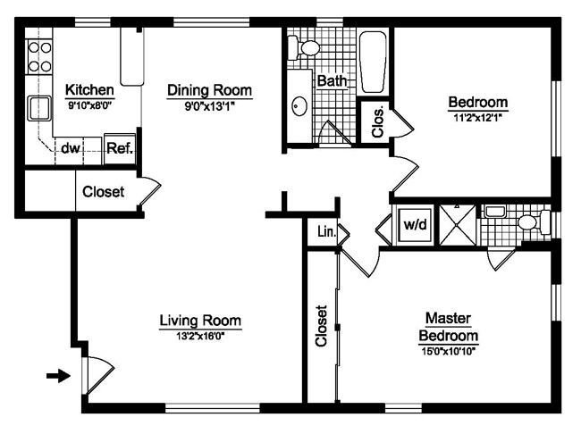 Best 2 Bedroom House Plans Free Two Bedroom Floor Plans With Pictures