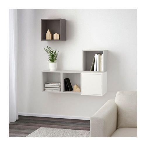 Best Wall Mounted Cabinet Combination Eket White Light Gray With Pictures