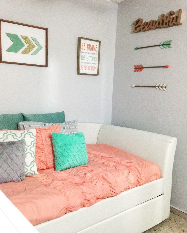 Best Coral Teal Grey And Gold Caroline In 2019 Bedroom With Pictures