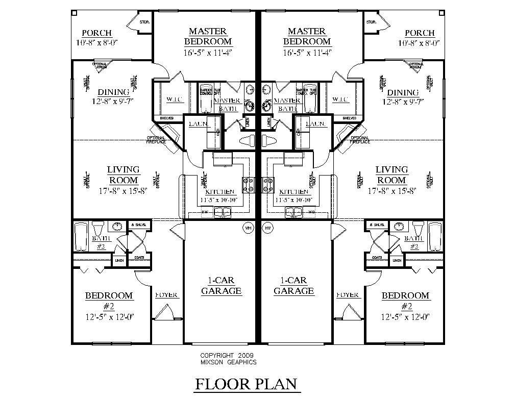 Best One Level Duplex Craftsman Style Floor Plans Duplex Plan With Pictures