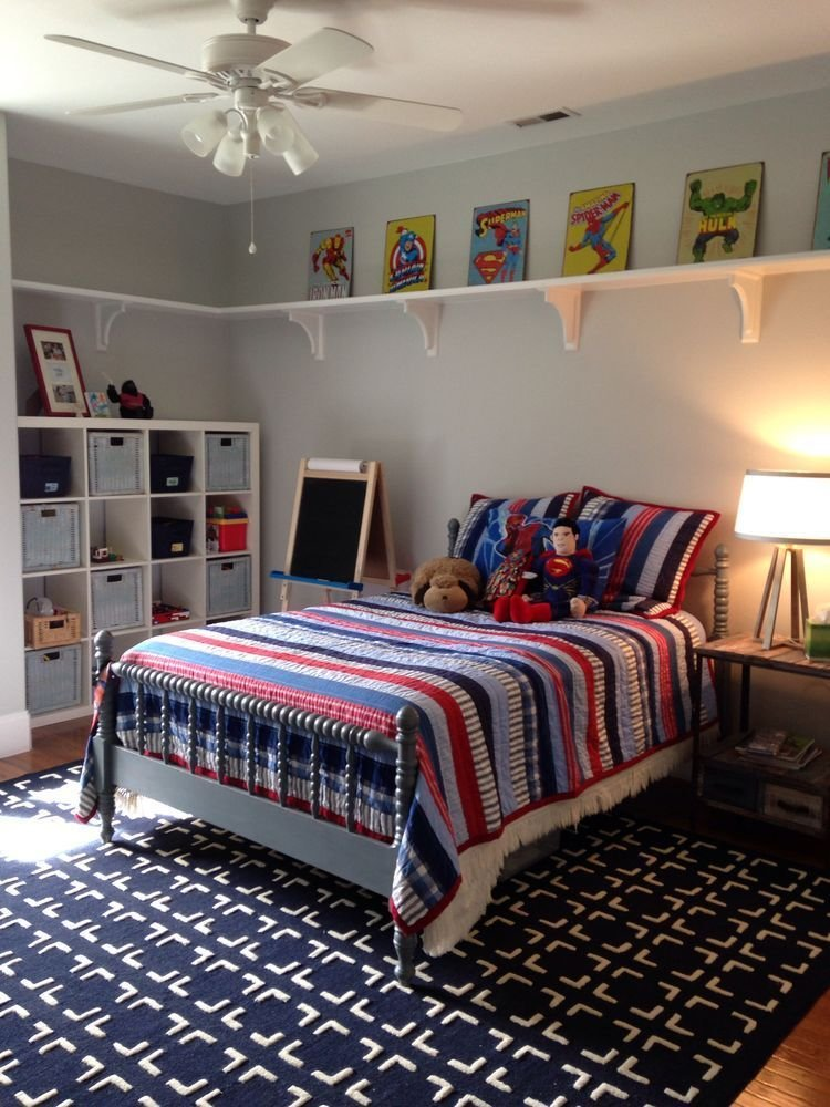 Best Shelving Around The Top Of Walls Kids' Bedroom Ideas In With Pictures