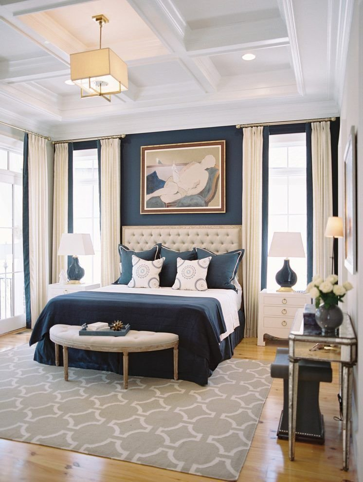 Best 10 Beautiful Bedrooms With Coffered Ceilings Navy Blue With Pictures