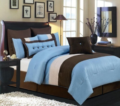 Best Cheap Price Valentino 8 Piece Oversized Comforter Set Blue With Pictures