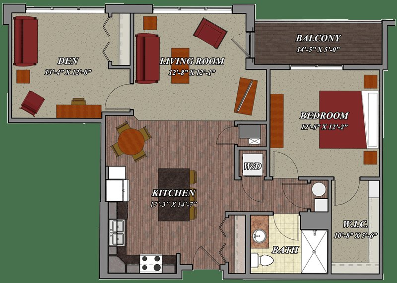 Best 1 Bedroom 1 Bathroom Den Style C2 – Lilly Preserve Apartments With Pictures