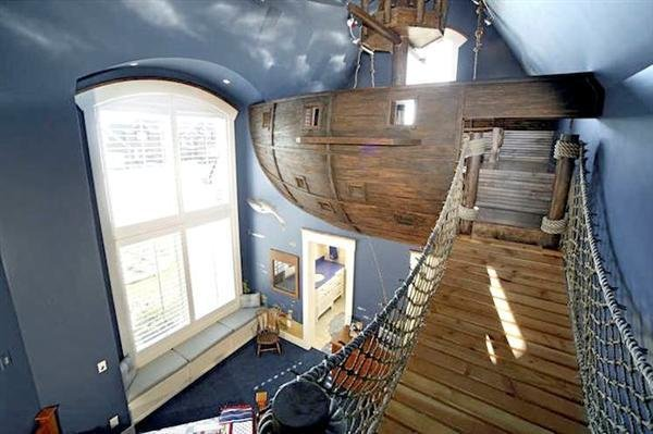 Best Pirate Ship Bedroom With Rope Bridge Slide Make With Pictures