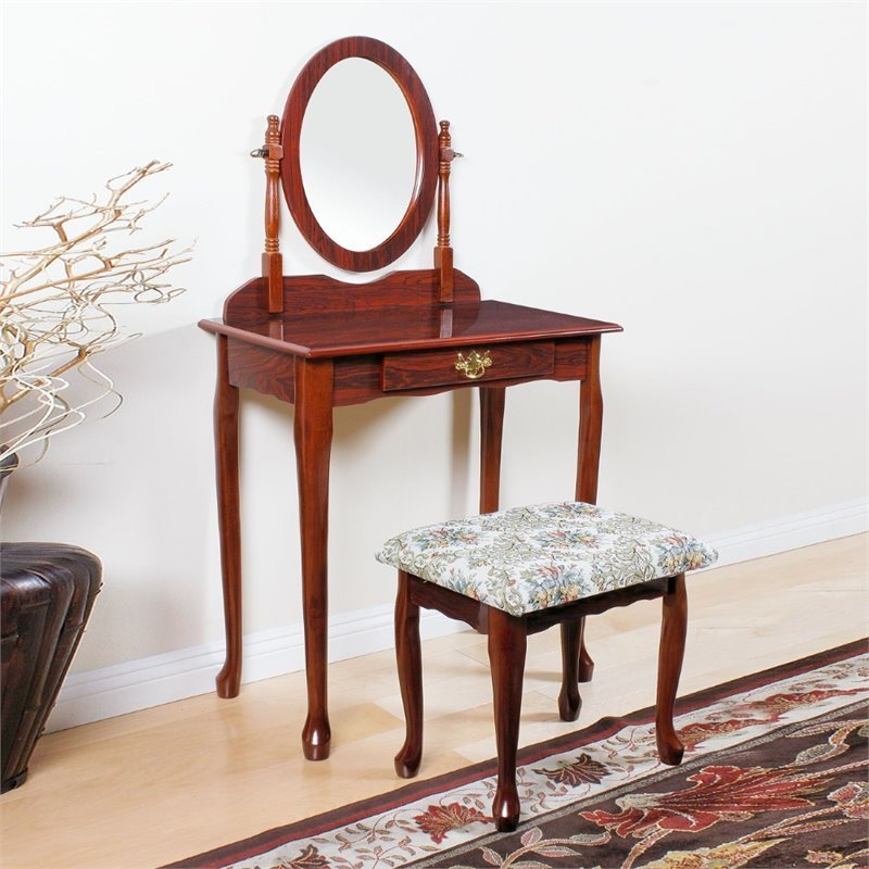 Best Acme Furniture Queen Anne Vanity Set In Cherry 02337Cherry With Pictures