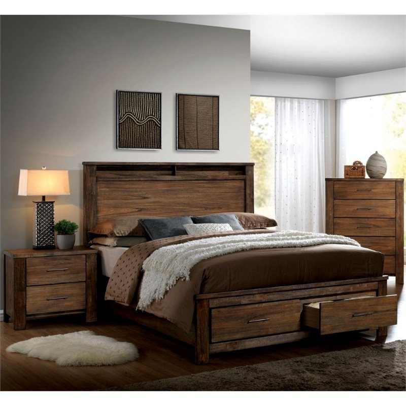 Best Furniture Of America Nangetti Rustic 3 Piece Queen Bedroom Set In Oak Idf 7072Q 3Pc With Pictures