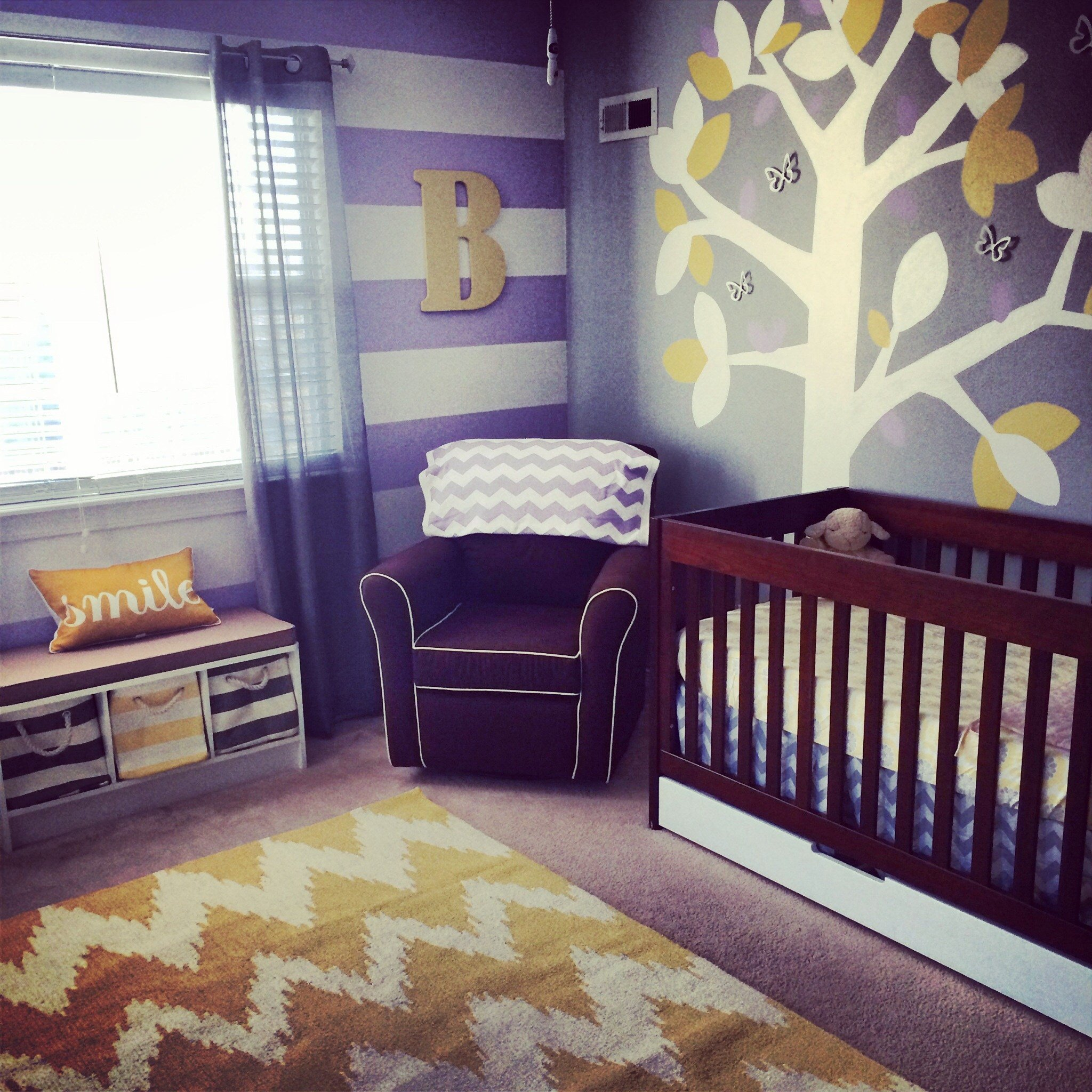 Best Blake Aubrey S Purple Grey And Yellow Nursery Project With Pictures