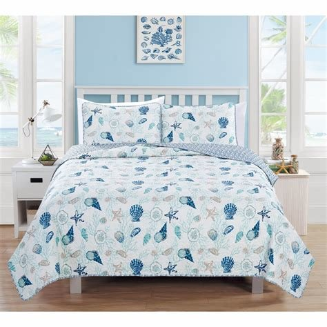 Best Blue White Seashells Themed Quilt Twin Set Coastal Bedding With Pictures