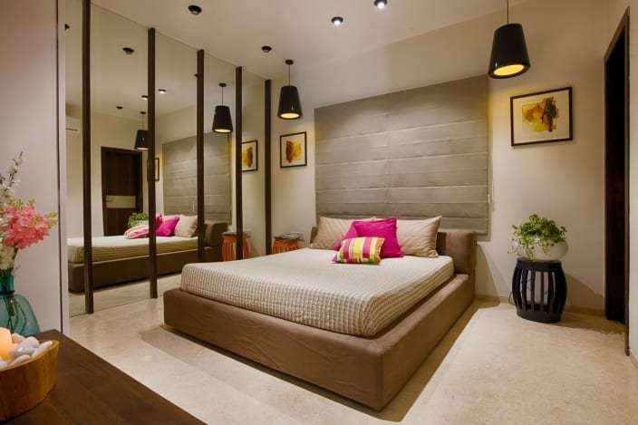 Best Fuchsia Elements In Beige Master Bedroom With Mirror Wall With Pictures
