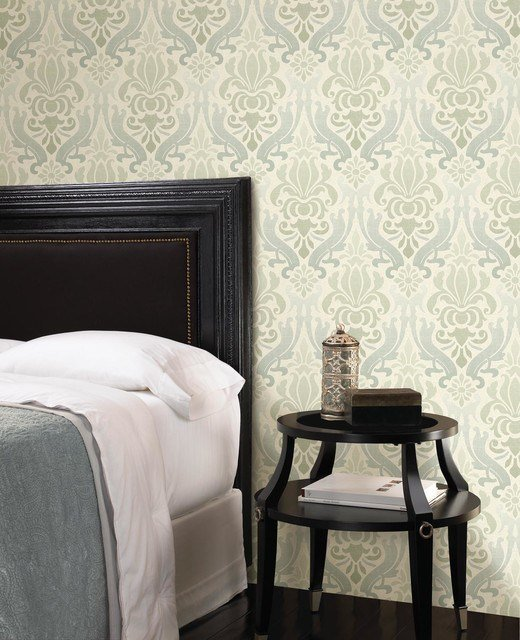 Best Blue Damask Wallpaper Contemporary Bedroom Other With Pictures