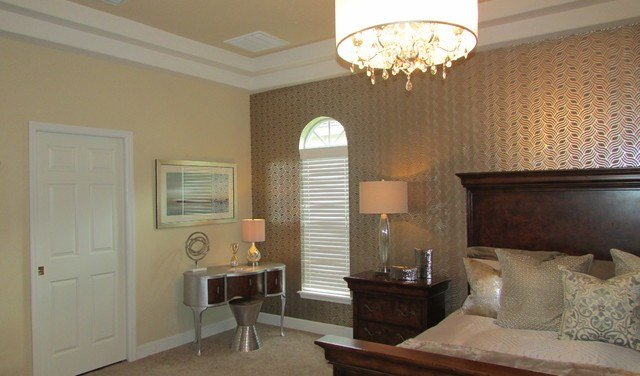 Best Gold And Silver Master Bedroom Transitional Bedroom With Pictures