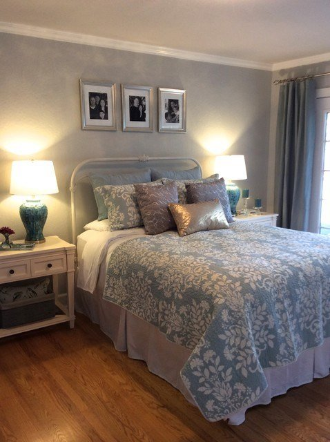 Best Serene Blue Gold And Silver Master Bedroom Eclectic With Pictures