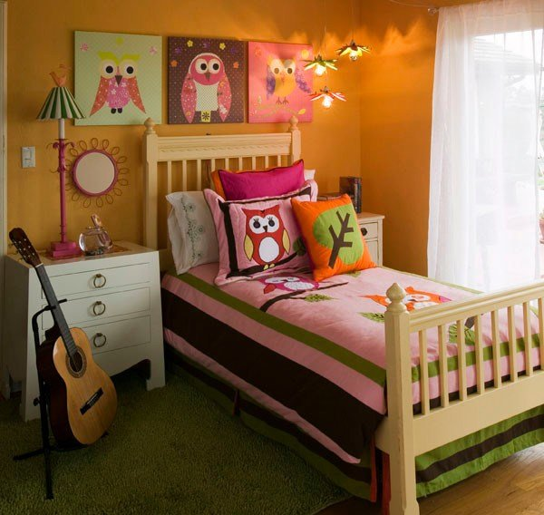 Best Girl S Mod Owl Themed Bedroom Modern Bedroom San Diego By Oopsy Daisy Fine Art For Kids With Pictures