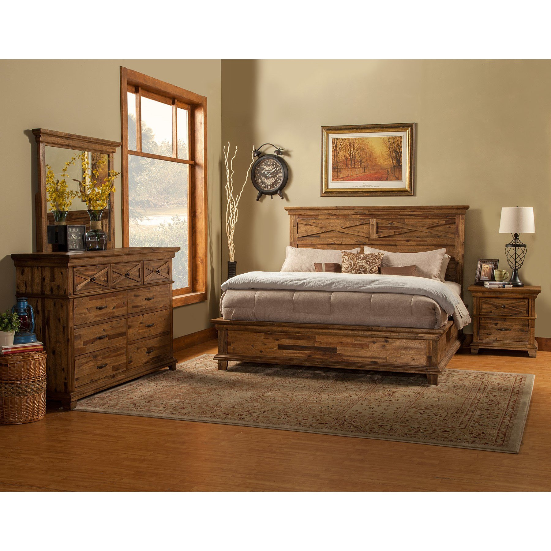 Best Alpine Furniture St James Panel Customizable Bedroom Set With Pictures