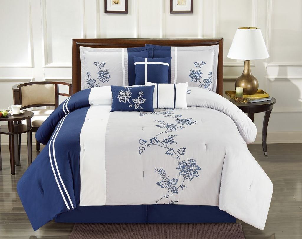 Best 7 Piece Floral Vine Embroidered Navy Gray Comforter Set With Pictures