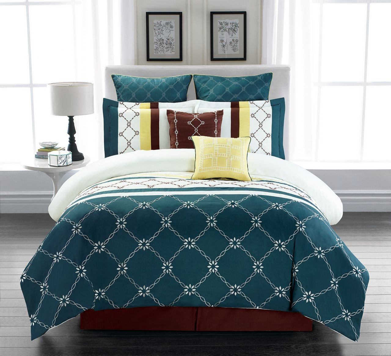 Best 8 Piece Boyle Teal Ivory Comforter Set With Pictures