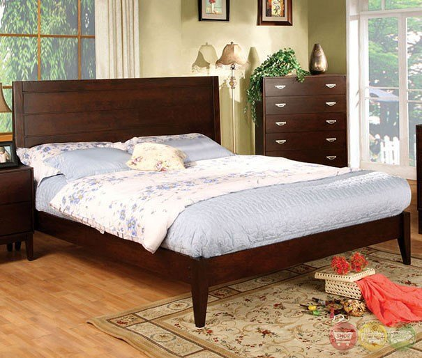Best Crystal Lake Contemporary Brown Cherry Bedroom Set With With Pictures